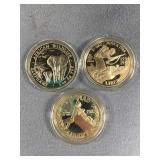 Lot of 3 silver coins, 1995 D day dollar 1988 Olym
