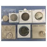 Lot of 6 coins mostly silver including 1667 Tongri
