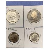 Lot of 4 silver American coins, 1944 quarter,