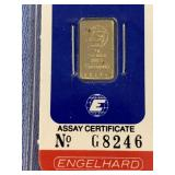 1 Gram bar of .999 pure gold by Engelhard