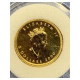 2000 Canadian Maple Leaf gold coin 1/10th oz. of