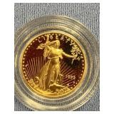1992 American $5 gold coin, 1/10th of an ounce