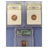 Lot of 3 graded coins:  1999 S quarter, and 2