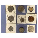 Lot of 9 foreign coins, including 1960 Mexico,