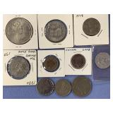 Lot of 10 foreign coins, including 1882 Mexico,