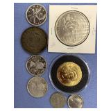 Lot of 8 foreign coins, including 3 Canadian