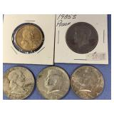 Lot of 5 American coins including 1960 silver