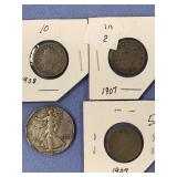 Lot of 4 American coins,   3 are Liberty nickels