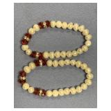 Lot of 2 glass bead and freshwater pearl stretch