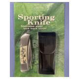 Folding lock back pocket knife with nylon sheath