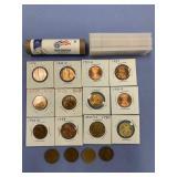 Bag lot of coins including 2009 D bankroll of Linc