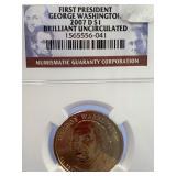 2007 D George Washington dollar coin graded Unc. f