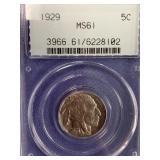 1929 Buffalo nickel graded MS61 by PCGS (early PCG