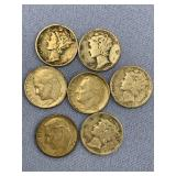 Bag lot of 7 American silver dimes, 3 Roosevelts a