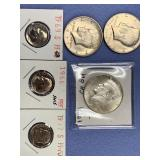 Bag lot of US coins including silver proof dimes,