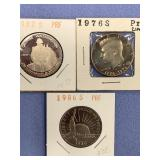 Bag lot of 3 proof half dollars 1986 S, 1982 S, si