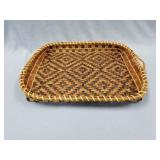 Hand woven cedar tray with dyed accents, about