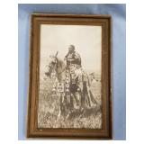 """Old framed photo of Native American warrior  12"""""""