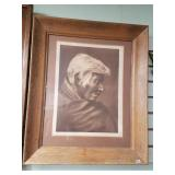 Matted and framed print of a lithograph,