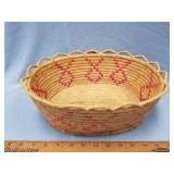 Old Alaskan grass basket with dyed accents,