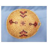 """Hand woven grass tray with dyed accents, 11"""" long"""