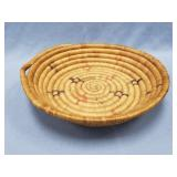 """Hand woven tray, about 10.5"""" diameter"""