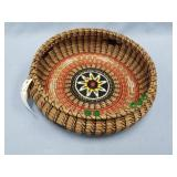 Sun River basket with beautiful dyed sinew