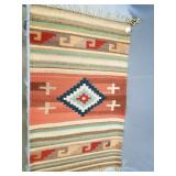 """Small hand woven rug about 36"""" wool"""