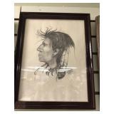 Signed pencil on paper, framed, of Native