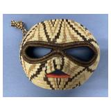 """Lovely hand woven mask, raccoon, about 7"""" long"""