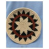 """Hand woven wool wedding tray about 8"""" diameter"""