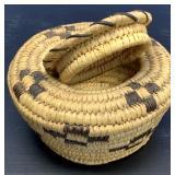 """Hand woven lidded grass basket 6.25"""" diameter"""