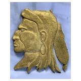 Heavy brass wall hanger of a native American India