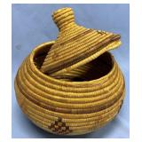 "Old lidded Hooper Bay grass basket 9"" tall with li"