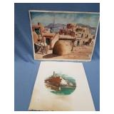 Lot of 2 pieces of art: Kathryn Louise signed and