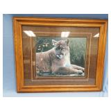 Double matted and framed print of a cougar, frame