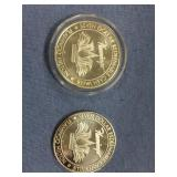 Lot of 2  $7 silver dollar gaming tokens from Neva