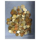 Large bag lot of misc. foreign coins: India, Austr