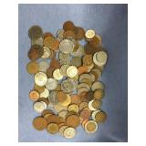 Large bag lot of misc. foreign coins: Turkey, Neth