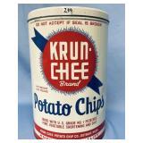 Vintage Krun-chee brand potato chip tin, about 11.