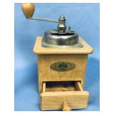 """Antique wood coffee grinder about 7.5"""" tall"""