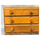 """3 Drawered wood jewelry chest 9.5"""" tall x 11.75"""" d"""
