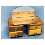 Vintage miniature wood dresser with mirror for dol
