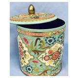 Lidded tin with beautiful floral designs, made in