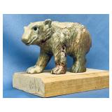 """Stone carved bear on a pine wood base, 5"""" tall"""