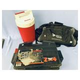 Lot of 3: Tackle box, 1 gallon thermos, and a Libe