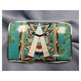 Belt buckle, turquoise Zuni style semi-precious st