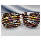 Lot of 2 beaded cuff bracelets      (T 1)