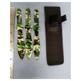 Set of 3 throwing knives in green camouflage, abou