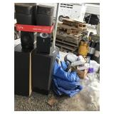 Large lot containing speakers, tire chains, degrea